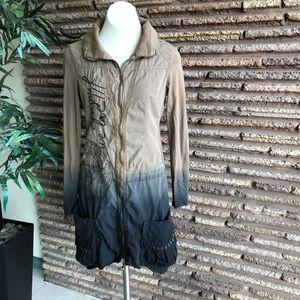 Desigual Ombre Khaki Zipper Front Dress Jacket